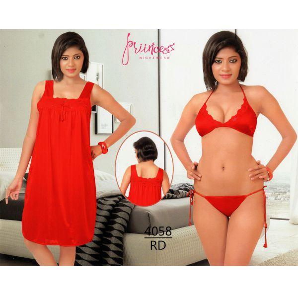 Fashionable Three Part Nighty-4058 RD