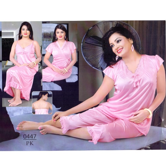 Fashionable Four Part Nighty-0447 PK