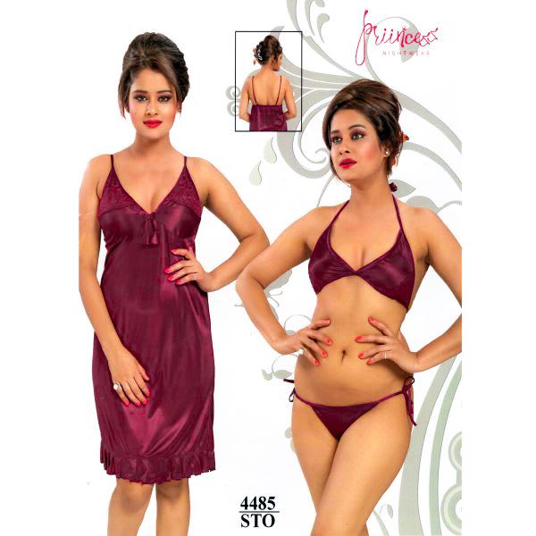 Fashionable Three Part Nighty-4485 STO