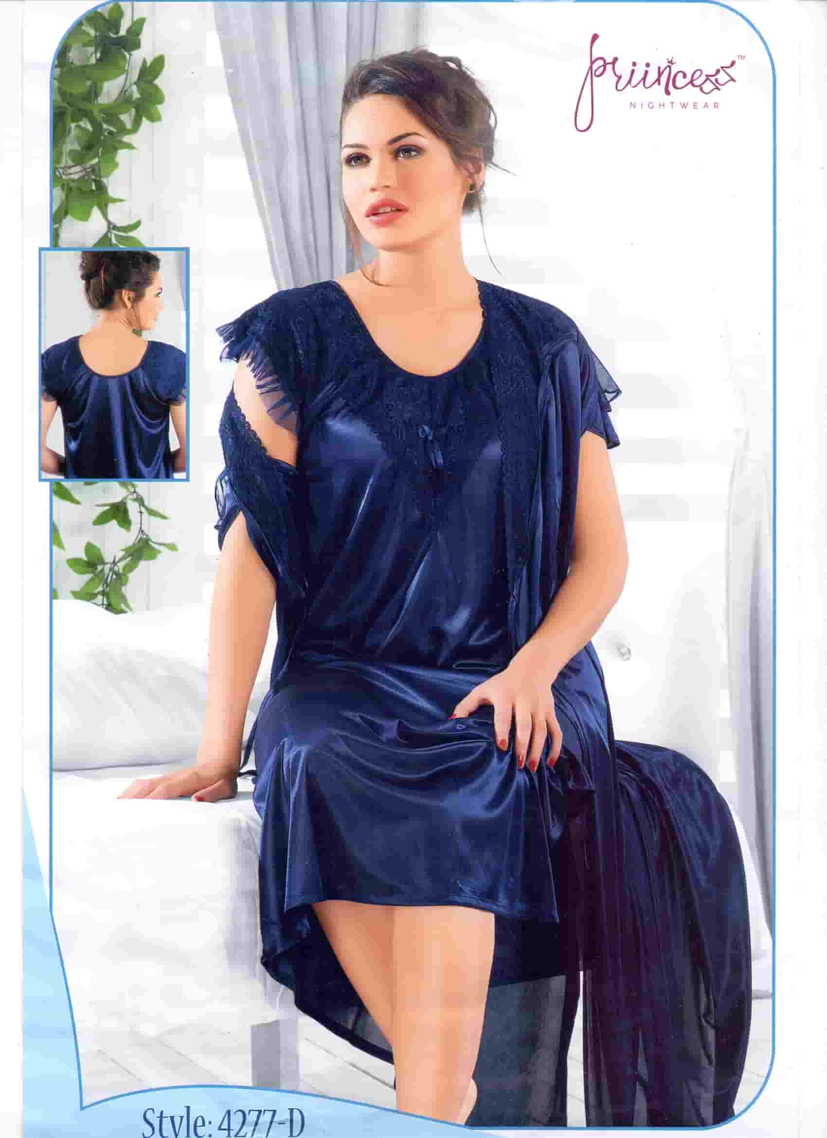 Fashionable Two Part Night Dress-4277 D