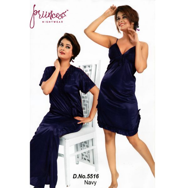 Fashionable Two Part Nighty-5516 Navy