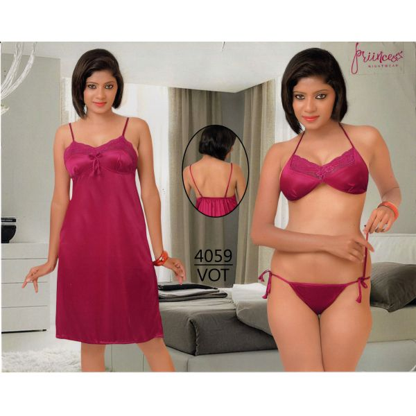 Fashionable Three Part Nighty-4059 VOT