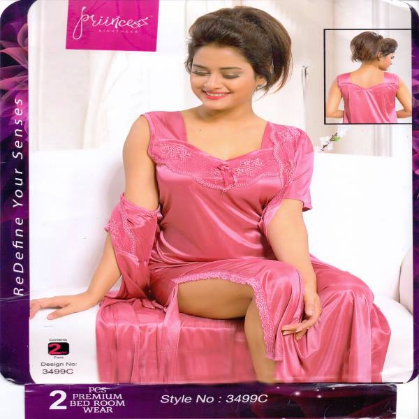 Fashionable Two Part Night Dress-3499 C