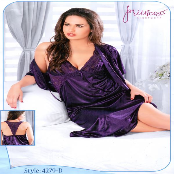 Fashionable Two Part Night Dress-4279 D