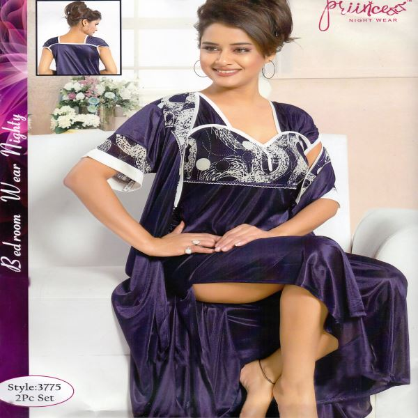 Fashionable Two Part Night Dress-3775