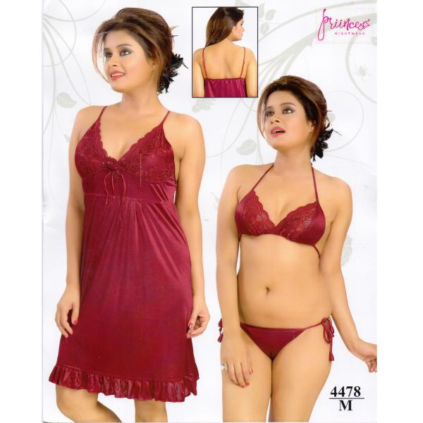 Fashionable Three Part Nighty-4478 M