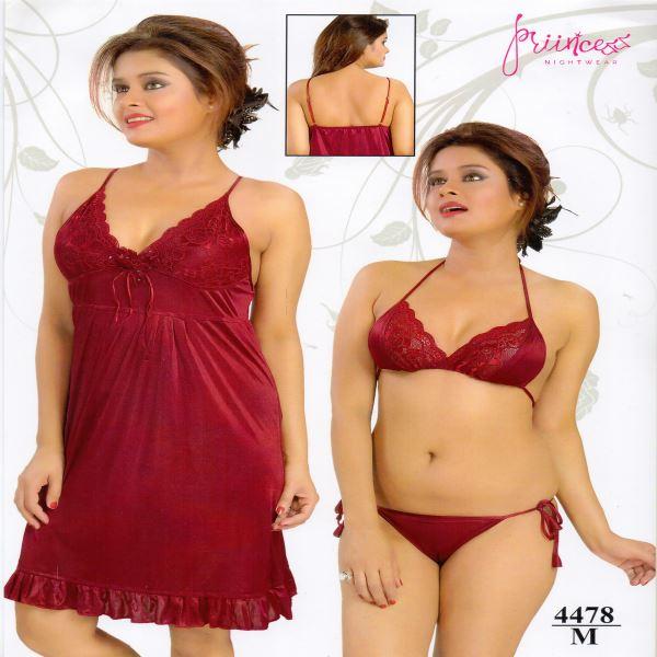 Fashionable Three Part Nighty-4478 M