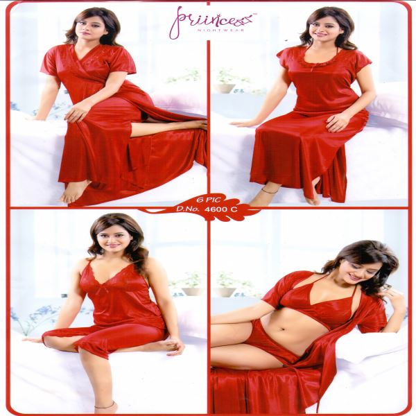 Fashionable Six Part Night Dress-4600 C