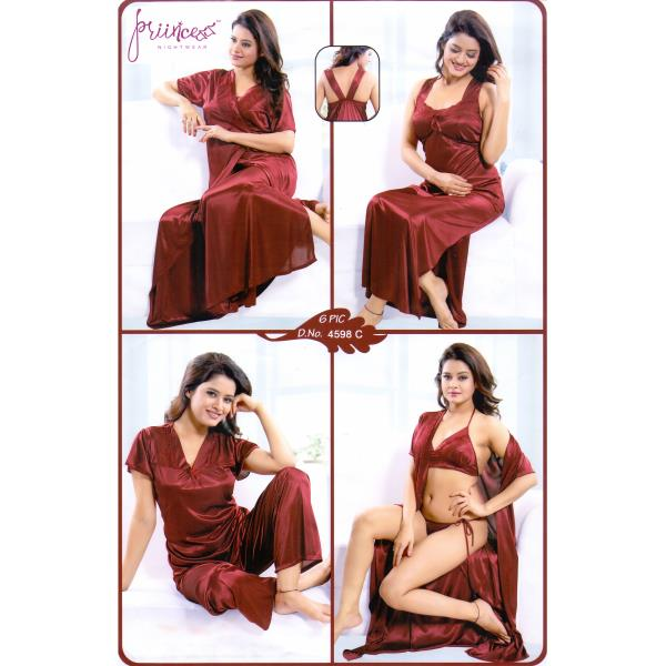 Fashionable Six Part Night Dress-4598 C