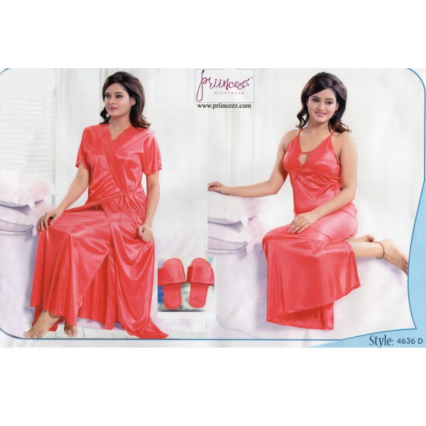 Fashionable Two Part Night Dress-4636 D