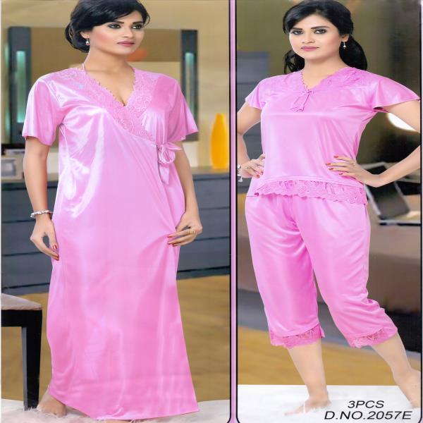 Fashionable Three Part Night Dress-2057 E