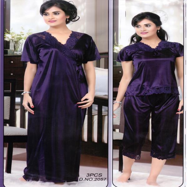 Fashionable Three Part Night Dress-2057