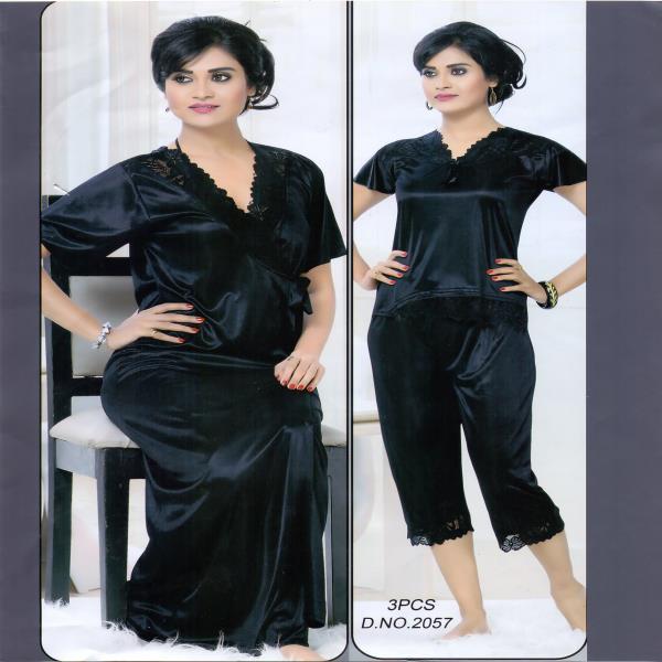 Fashionable Three Part Night Dress-2057 B