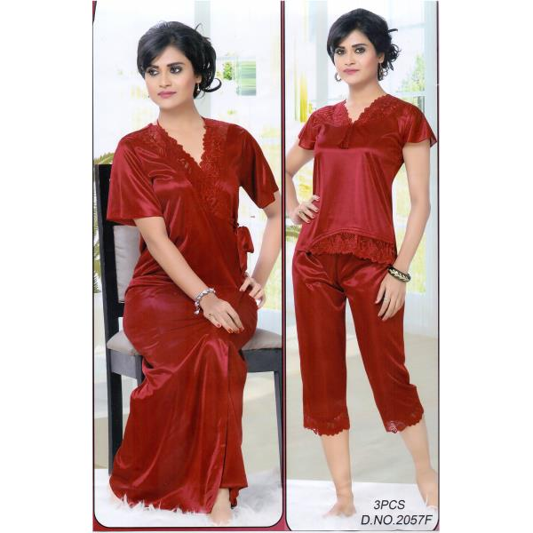 Fashionable Three Part Nighty-2057 F