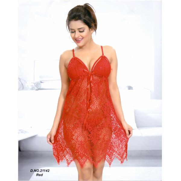 Stylish Short Nighty-21142 Red