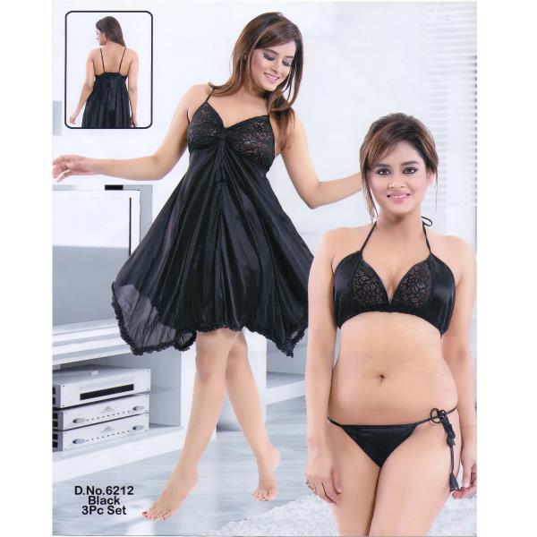Fashionable Hot Nighty-6212 Black