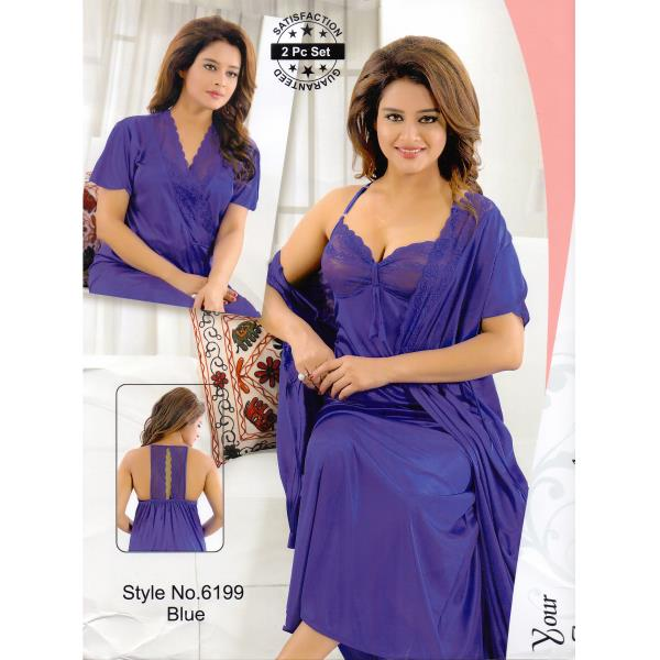 Fashionable Two Part Nighty-6199 Blue