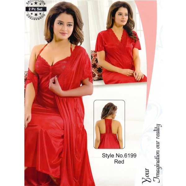 Fashionable Two Part Nighty-6199 Red
