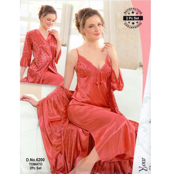Fashionable Two Part Nighty-6200 Tomato