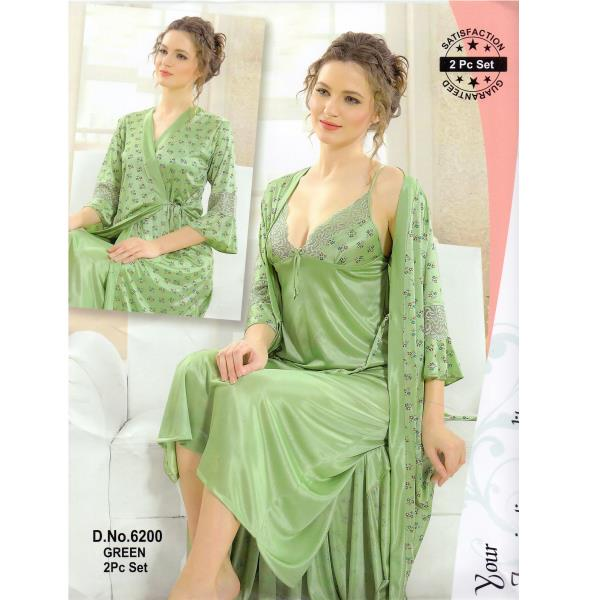 Fashionable Two Part Nighty-6200 Green