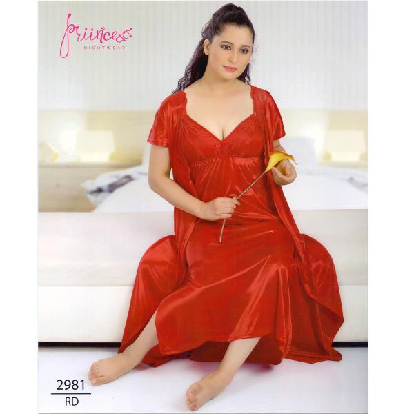 Fashionable Two Part Nighty-2981 RD