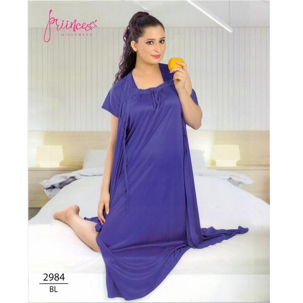Fashionable Two Part Nighty-2984 BL