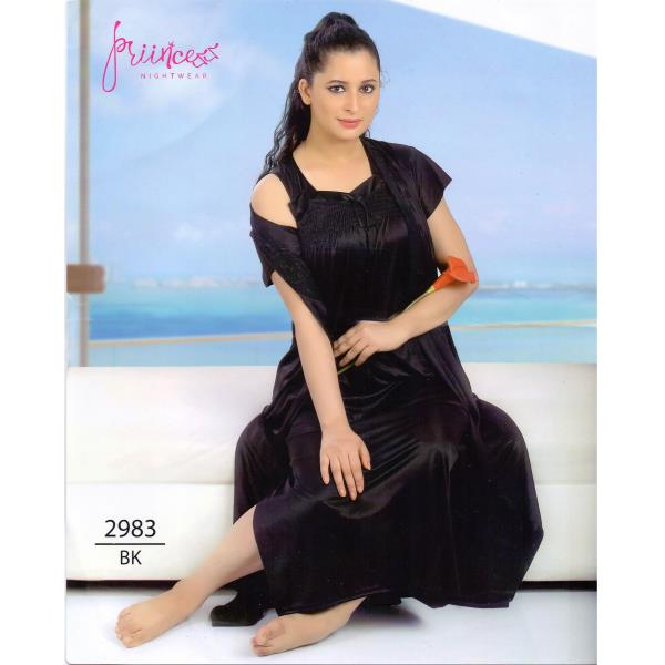 Stylish Two Part Nighty-2983 BK