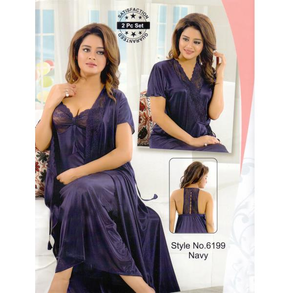 Fashionable Two Part Nighty-6199 Navy