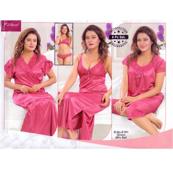 Fashionable Six Part Nighty- 6191 Onion