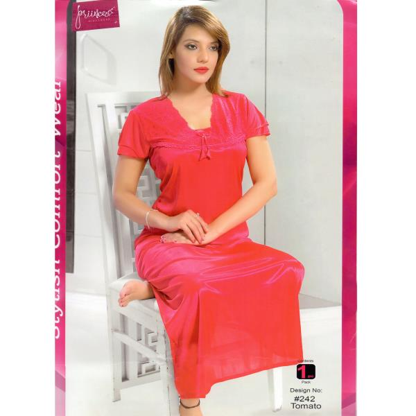 Stylish One Part Nighty-242 Tomato