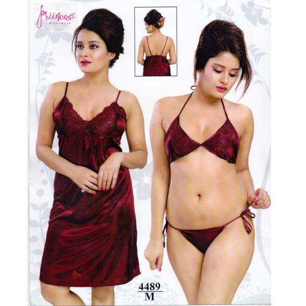 Fashionable Three Part Nighty-4489 M