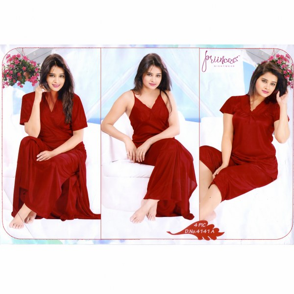 Fashionable Four Part Nighty-4141 A
