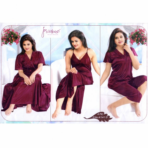 Fashionable Four Part Nighty-4141 D