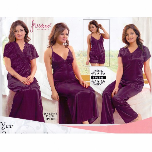 Fashionable Six Part Night y -6114 Purple