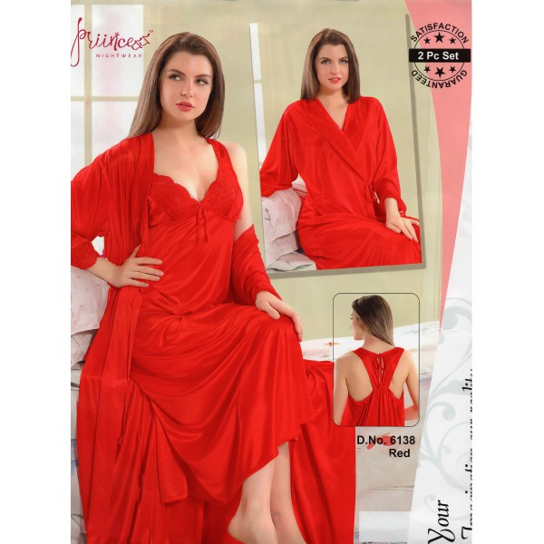 Fashionable Two Part Nighty-6138 Red