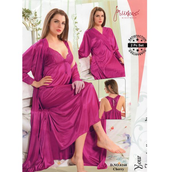 Fashionable Two Part Nighty-6168 Cherry