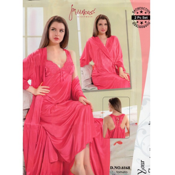 Fashionable Two Part Nighty-6168 Tomato
