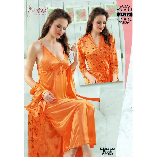 Fashionable Two Part Nighty-6232 Peach