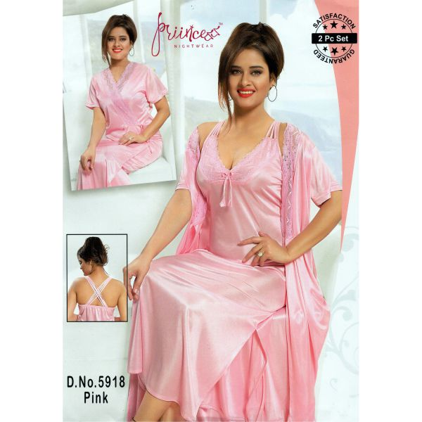 Fashionable Two Part Nighty-5918 Pink