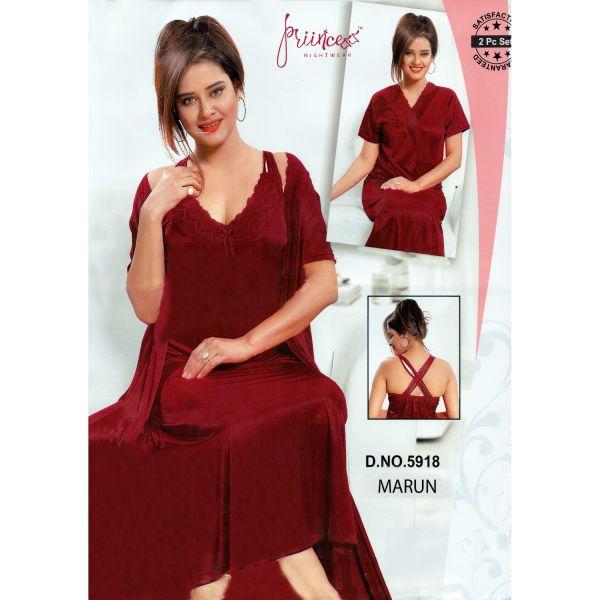 Fashionable Two Part Nighty-5918 Marun