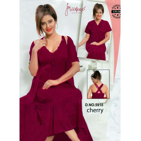 Fashionable Two Part Nighty-5918 Cherry