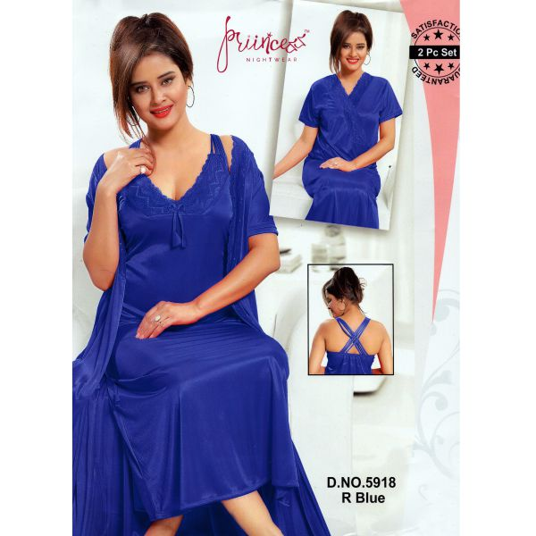 Fashionable Two Part Nighty-5918 R Blue