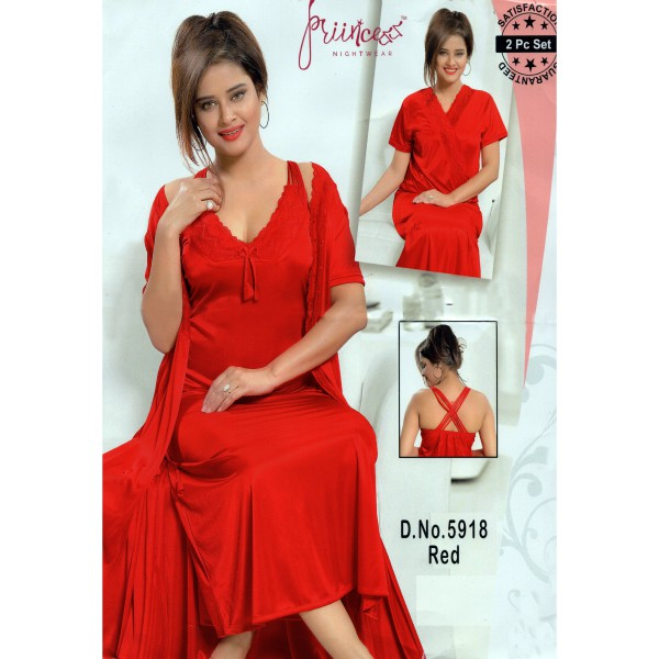 Fashionable Two Part Nighty-5918 Red