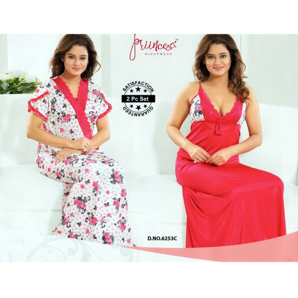 Fashionable Two Part Nighty-6253 C