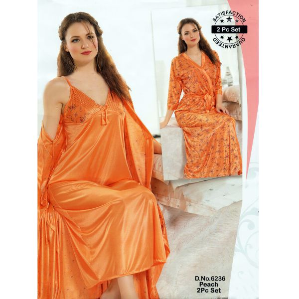 Fashionable Two Part Nighty-6236 Peach