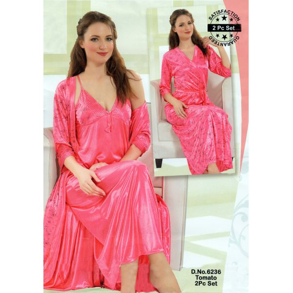 Fashionable Two Part Nighty-6236 Tomato