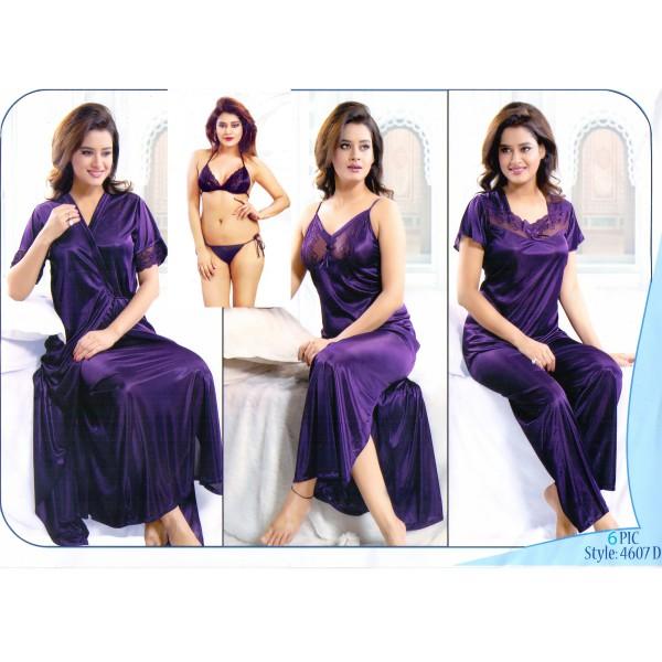 Fashionable Six Part Night Dress-4607D