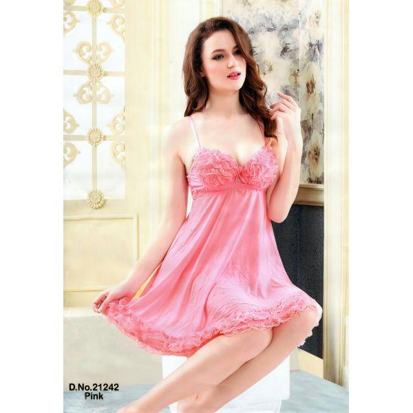 Fashionable Short Nighty-21242 Pink