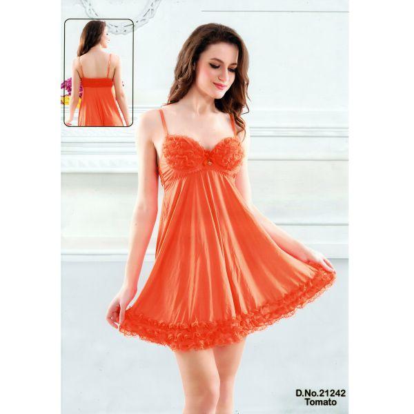 Fashionable Short Nighty-21242 Tomato