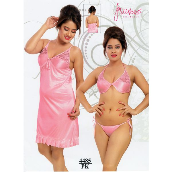 Fashionable Three Part Nighty-4485 PK